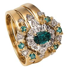 9ct Gold Diamond Synthetic Emerald Trio Ring Set