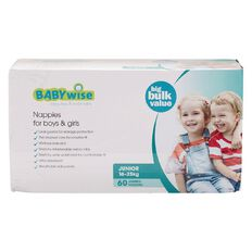 Babywise Jumbo Nappies Junior 60 Pack