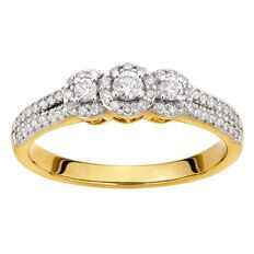 1/4 Carat of Diamonds 9ct Gold Cluster Halo Ring