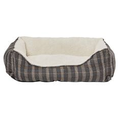 Fur'life Pet Bed Rectangle Black & White Medium 65cm x 50cm x 20cm