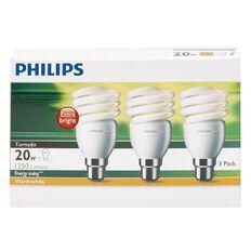 Philips Tornado T2 Bulb 20W BC Warm White 3 Pack