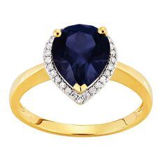 9ct Gold Diamond Synthetic Sapphire Pear Halo Ring