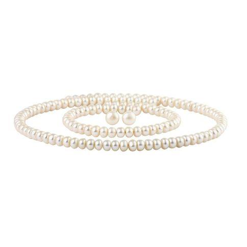 White fresh Water Pearl Earring Necklace Bracelet Set