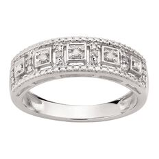 Sterling Silver Diamond Square Channel Ring