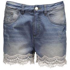 Garage Lace Hem Denim Shorts