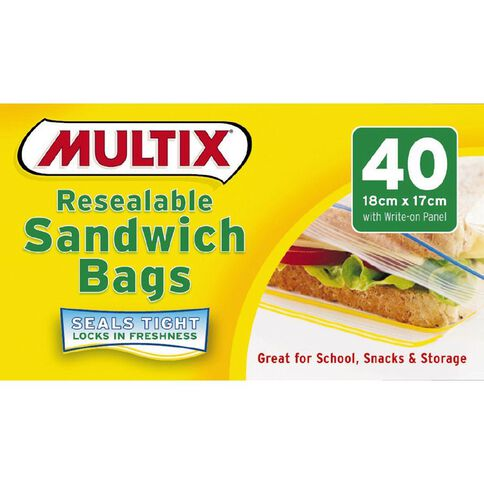 Multix Quick Zip Resealable Sandwich Bags 40 Pack