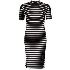 Garage High Neck Rib Midi Dress