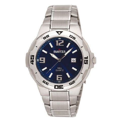 Switza Men's Stainless Steel Watch with Blue Dial