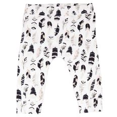 Hippo + Friends Baby Girl Feather Leggings