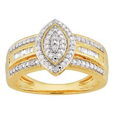 1/5 Carat of Diamonds 9ct Gold Marquise Taper Ring