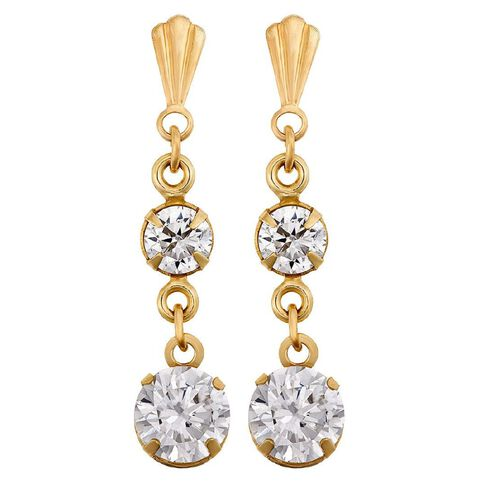 9ct Gold CZ 2 Drop Earrings