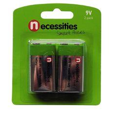 Necessities Brand 9V Super Heavy Duty Batteries 2 Pack