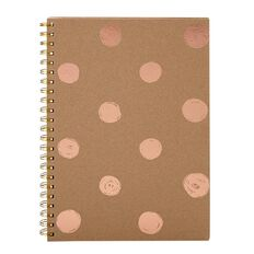 Stylo Kraft Spiral Notebook with Rose Gold Foil Print A4 100GSM