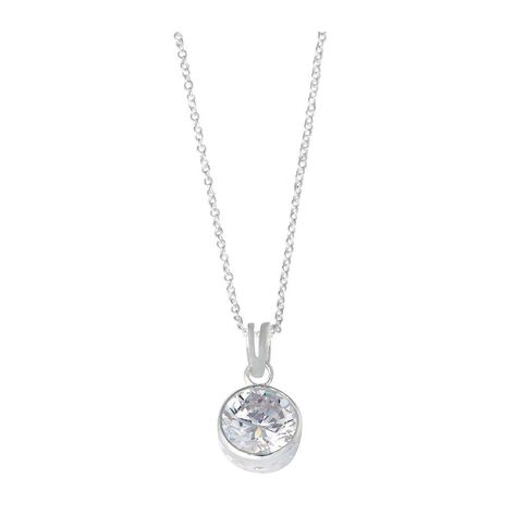 Sterling Silver White CZ Rubover Pendant 8mm