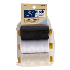 Birch Thread 500m 1 x White 1 x Black 1 x Cream