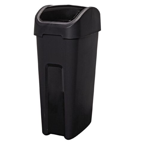 Living & Co Rubbish Bin Slim Line Flip Top Black 32L
