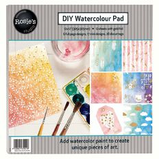 Rosie's Studio Watercolour DIY Paper Pad with Diecut Sheets 12in x 12in
