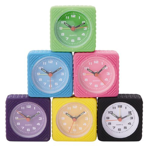 Necessities Brand Silicone Alarm Clock Assorted Colours 6cm