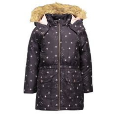 A'nD Faux Fur Trim Hood Printed Puffer Jacket