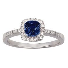 Sterling Silver Diamond Cushion Cut Synthetic Sapphire Ring