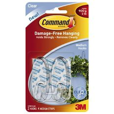 Command Clear Medium Hooks 2 Pack - 4 Clear Strips