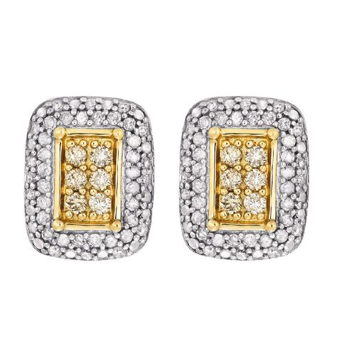 1/2 Carat of Diamonds 9ct Gold Diamond Rectangle Earrings