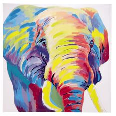 Design House Canvas Handpainted Bright Elephant 80cm x 80cm