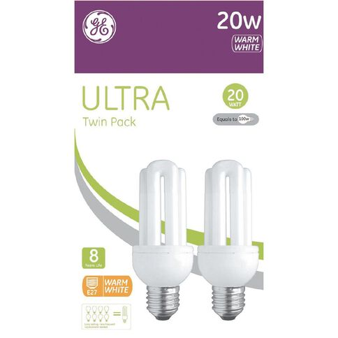 General Electric Bulb CFL Ultra 20W WW E27 2 Pack