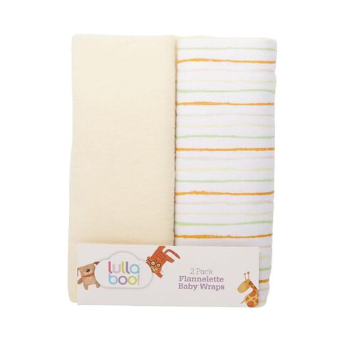 Lullaboo Flannelette Wraps Yellow Green 2 Pack
