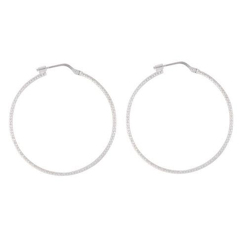 Sterling Silver Large Diamond Cut Earrings 35mm