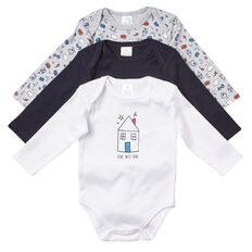 Hippo + Friends Baby Boy Long Sleeve Print Bodysuit 3 Pack