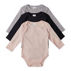 Hippo + Friends Baby Girl Long Sleeve Plain Bodysuit 3 Pack