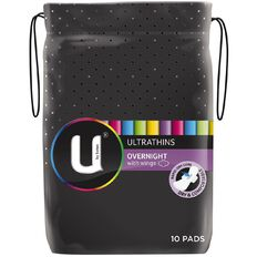 U By Kotex Ultrathin Pads Overnight Wing 10s