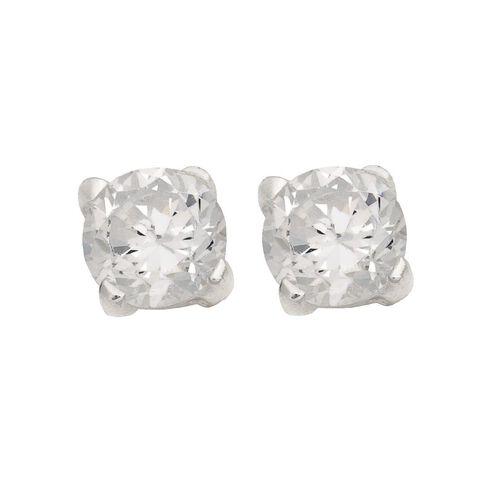 Sterling Silver Clear CZ Earrings 4mm