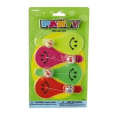 Unique Party Favours Smiley Paddle Balls 4 Pack