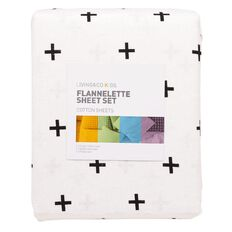Living & Co Kids Flannelette Sheet Set Crosses