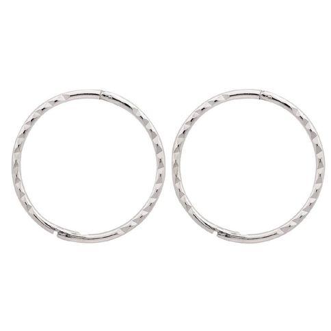 Sterling Silver Diamond Cut Sleepers Earrings 16mm