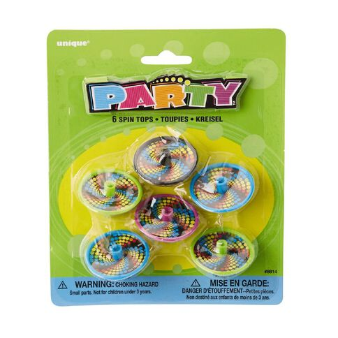 Unique Party Favours Spin Tops 6 Pack