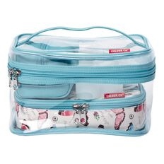 Colour Co. Toiletry Bag Clear Train Case Butterfly/Blue 6 Piece