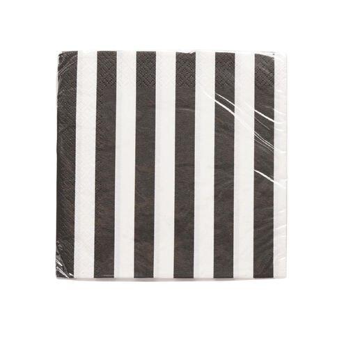 Unique Napkins Stripes Black Large 16 Pack