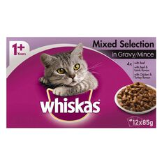 Whiskas Mixed Selections in Gravy/Mince Pouch 12 Pack