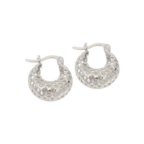 Sterling Silver Fancy Mesh Hoop Earrings