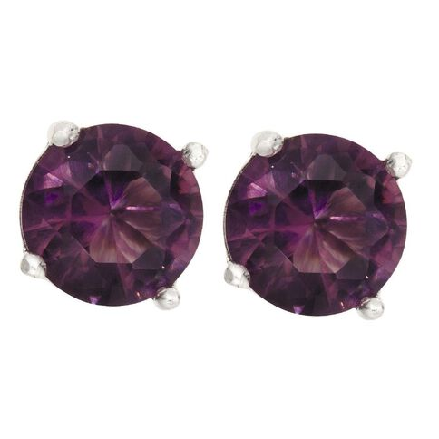 Sterling Silver Violet CZ 4 Claw Earrings 4mm