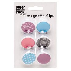 Paper Scissors Rock Sorted Magnetic Clips 6 Pack