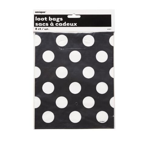 Unique Loot Bags Dots Black 8 Pack