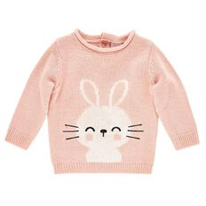 Hippo + Friends Baby Girl Character Knit Jumper