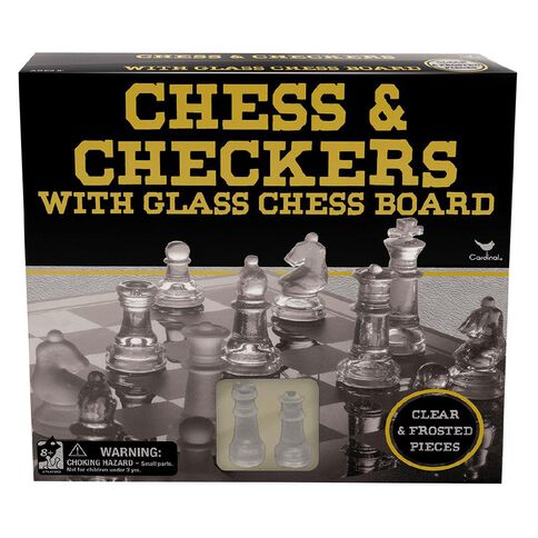 Chess & Checkers Set with Glass Chess Board