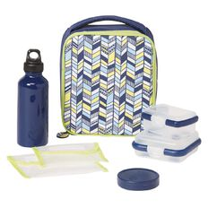 Necessities Brand Lunch Set Chevron Navy 7 Piece