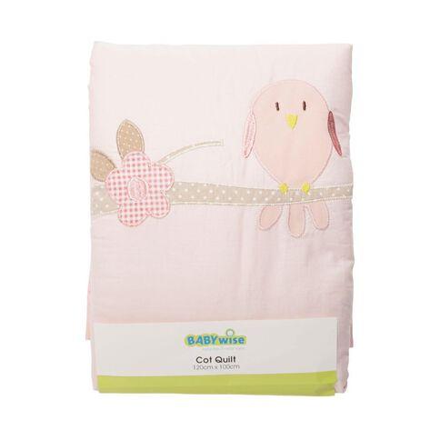 Babywise Cot Quilt Bird Pink