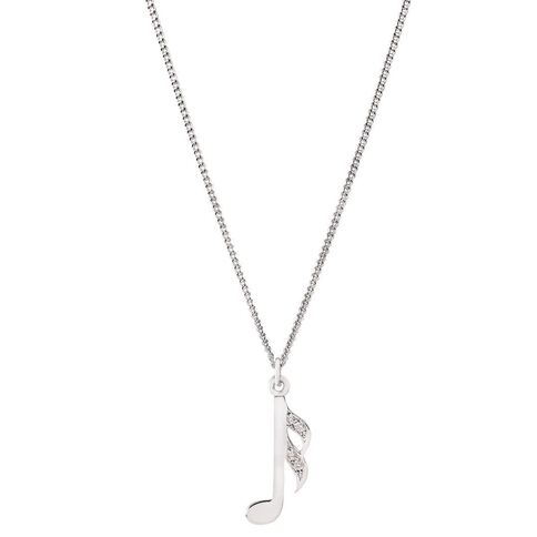 Pia Notes Sterling Silver Diamond Note Pendant